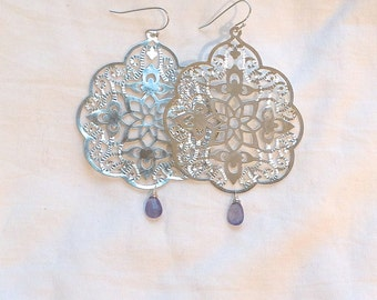 Silver Filagree and Faceted Tanzanite Teardrop Earrings on Sterling Silver