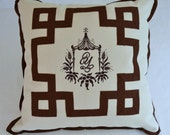 PAGODA LINDA PILLOW - Embroidered Linen With Grosgrain Fretwork - Ivory and Brown - Other Colors Available
