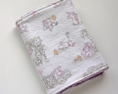 Easter Bunny Burp Cloth - Cute Bunnies at Play - Multi Color - Flannel and Lilac Chenille