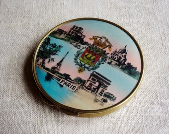 vintage Paris souvenir, compact case from France, with Eiffel Tower, Arc de Triomphe, Notre Dame and Sacré-Coeur