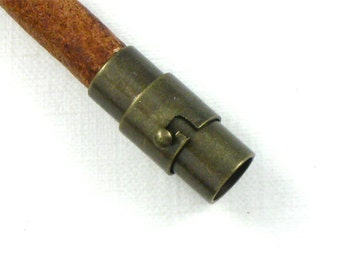 3 CLASP end bead cap for bracelets.  Magnet twist clasp in bronze tone. 6mm inside diameter