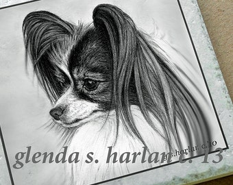 Papillon Dog Fine Art Drawing on a 6 inch Decorative Tile Trivet