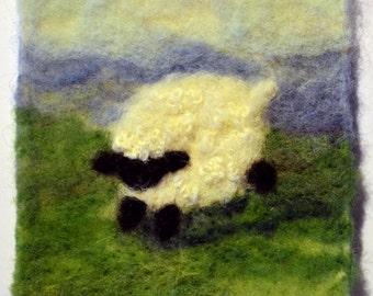 "019A "" Sheep -  Coming"" Thyme Tile Needle Felting Kit"