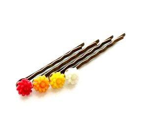 Flower Hair Pin Set in Red, Orange, Yellow, White