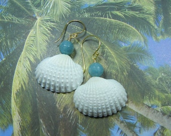 Seashell Earrings - Aquamarine Mermaid Seashell Earrings