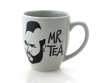 Mr T Tea Mug Grey Gray Silver, great gift for him, Mr. tea mug, large 16 oz mug