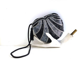 WALBORG Beaded Gatsby Evening Bag Disco Purse Art Deco Downton Abbey Glam Wear to Wedding Formal 1970s 1980s Vintage Black Silver