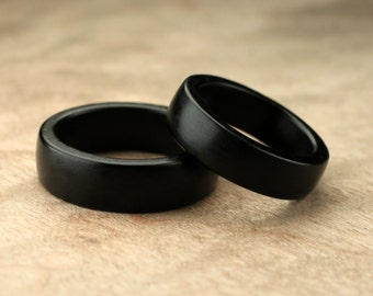 Custom Matching Ebony Wood Rings - 7mm & 6mm