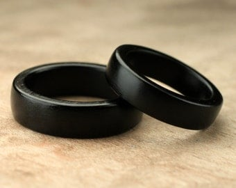 Custom Matching Ebony Wood Rings - 6mm & 5mm