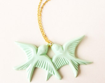 Mint green resin swallow love birds gold necklace