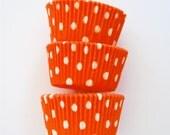 Pumpkin Orange Polka Dots Cupcake Liners (50 Liners)