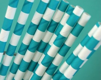 Teal Rugby Striped Paper Straws and PDF Printable Party Flags