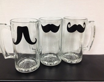 Mustache Chalkboard Labels - Vinyl Decals - 12 - Mustache Drink Labels, DIY Mustache Beer Mugs