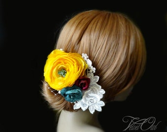 Bridal flower hair pin clip comb or fascinator yellow flower plum purple turquoise magenta Ivory vintage lace vintage - FLORENTINE