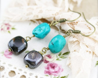 Friendship and vitality earrings - turquoise and tiger iron