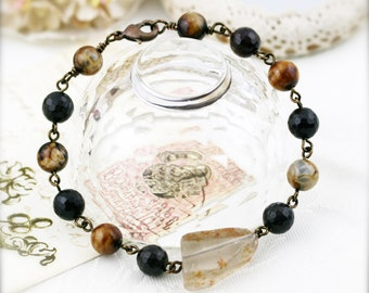 Cleanse and protection (unisex) bracelet -  smoky quartz and ice flower agate