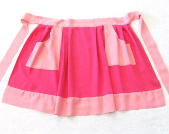 Hot Pink Apron 1970s with Pockets Homemade