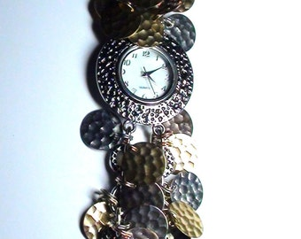 Silver and Gold Altered Art  BRACELET Watch Aluminum Coins 2 STRAND  Bracelet Working and New Battery On SaLe Now