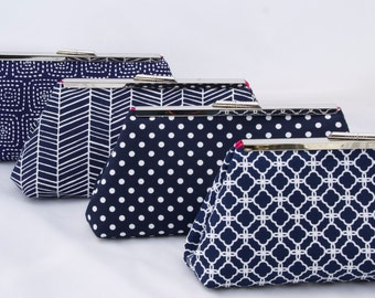 Navy Bridesmaids Gift Custom Clutch Handbag Design your own as gift for Wedding Party in various Navy fabrics