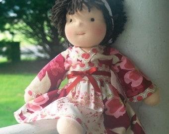 Kyoko style doll dress with long sleeves and obi for American Girl, Waldorf or Sasha doll