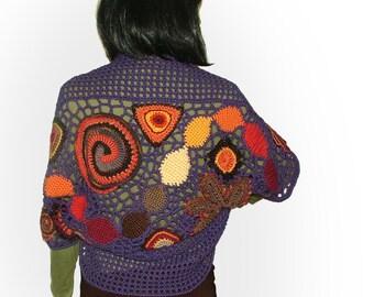 Womens Crochet Shrug Bolero with multicolour motifs OOAK freeform Crochet Shrug