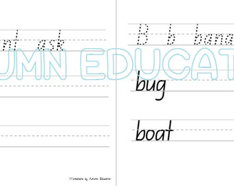 items similar to abc alphabet handwriting tracing worksheets preschool kindergarten homeschool. Black Bedroom Furniture Sets. Home Design Ideas