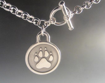 Engravable Paw Print Necklace With Toggle Clasp