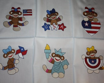 Patriotic Girl Sock Monkey Machine Embroidered Quilt Blocks Set