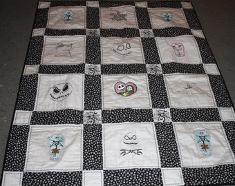 Nightmare Before Christmas Lap Quilt Machine Embroidered Designs