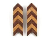 Straight Arrow - Vintage 1970s Chevron Earrings, Stacked Wood, Handmade from Walnut & Sycamore Hardwoods, Ozark Craft Guild, Clip On