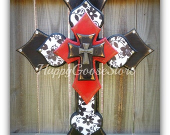 Wall CROSS - Wood Cross - Large - Black & White Floral, antiqued red and black