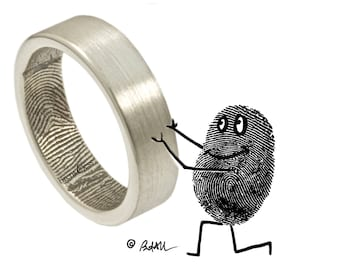 The Original Fingerprint Ring with Wrapped Print on the Inside in Sterling Silver