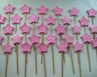 Birthday party favor - Pale pink plantable paper stars on a wand - Magic wand for fairy princess or magic theme party