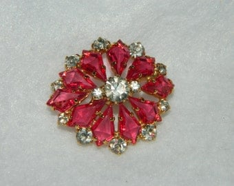 Vintage Prong Set Open Back Deep Pink and Clear Rhinestone Brooch Pin
