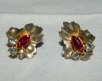 Vintage Sterling Silver Rhinestone Screw Back Earrings