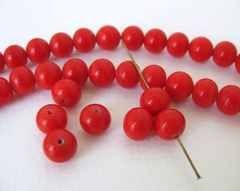 Vintage Japanese Beads Cherry Brand Bright Red Glass Rounds 10mm vgb0734 (6)