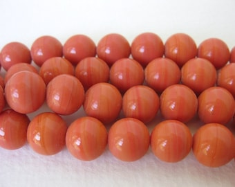 Vintage Japanese Beads Cherry Brand Orange Coral Glass Rounds 10mm vgb0730 (6)