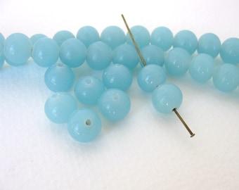 Vintage Japanese Beads Cherry Brand Aqua Blue Chalcedony Glass Rounds 10mm vgb0725 (6)