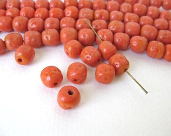 Vintage Japanese Beads Cherry Brand Orange Coral Glass Baroque Rounds 10mm vgb0740 (6)