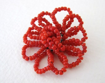 Vintage Millinery Flower Seed Bead Trim Red Daisy Italy vgb0579 (1)