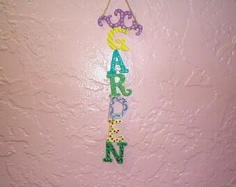 PRIMITIVE~Glittered~Garden~Sign~Different~Designs~Each~Letter~Handmade~My~Design~Unique~