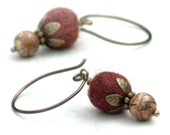 Autumn Earrings Earthy Cinnamon Drop Gemstone French Wire