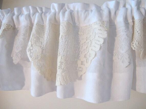 White lace doily valance upcycle linens window valance