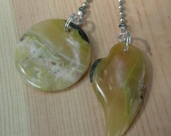 Fan Dangle / African Yellow Opal on Silver Light Pulls Switch Pull Heart Dangles Stones