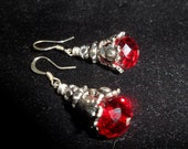 Deep Red Silver Filigree Dangle Earrings
