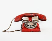 Give Me a Call Sometime - Vintage Tin Toy Phone - Red - Home Decor - Industrial - Collectible - Photo Prop - Kids