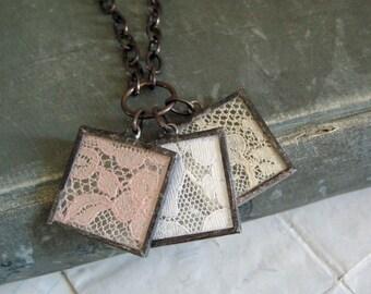 Lace Charm Necklace Vintage Lace Jewelry