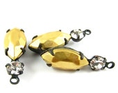 2 - Raw Brass Navette and Chaton Swarovski Crystal in 1 Ring 2 Stones Black Antique Brass Prong Settings - Crystal - 23x7mm