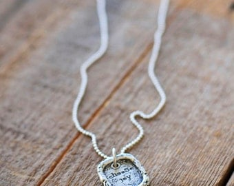 Choose Joy Charm and Necklace Inspirational Silver Jewelry