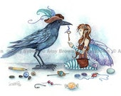 Fairy and Crow 8.5x11 PRINT The Collector by Amy Brown